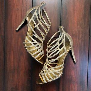 Nina Brand Gold Glitter Strappy Sandal